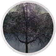 Winter Candelabrum Round Beach Towel
