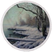 Winter Coming On The Riverside Round Beach Towel