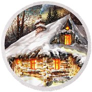Winter Cottage Round Beach Towel