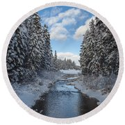 Winter Creek Round Beach Towel