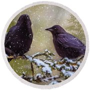 Winter Crows Round Beach Towel by Ken Morris