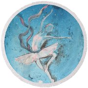 Winter Dancer1 Round Beach Towel by Laurianna Taylor