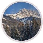 Winter Dolomites Round Beach Towel