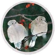 Winter Doves Round Beach Towel