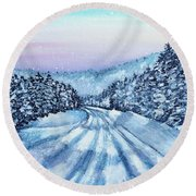 Winter Drive Round Beach Towel by Shana Rowe Jackson