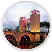 Round Beach Towel featuring the photograph Winter Evening Lights On The Woodlands Waterway by Connie Fox