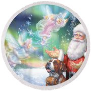 Winter Fairies Round Beach Towel
