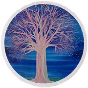 Round Beach Towel featuring the painting Winter Fantasy Tree by First Star Art