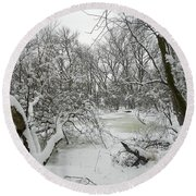 Winter Forest Series 3 Round Beach Towel