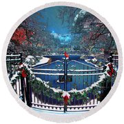 Winter Garden Round Beach Towel