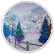 Winter Glow Round Beach Towel