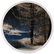 Round Beach Towel featuring the photograph Winter Glow by Mim White