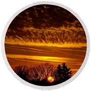 Winter Gold Round Beach Towel