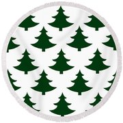 Winter Green Christmas Tree Round Beach Towel