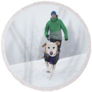 Winter Hiking With The Dog Round Beach Towel