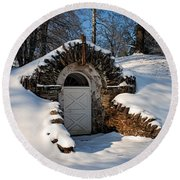 Winter Hobbit Hole Round Beach Towel by Michael Porchik