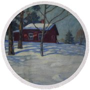 Winter House Round Beach Towel