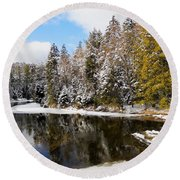 Round Beach Towel featuring the photograph Winter Impressions ... by Juergen Weiss