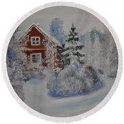 Winter In Finland Round Beach Towel