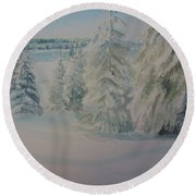 Round Beach Towel featuring the painting Winter In Gyllbergen by Martin Howard