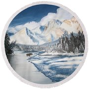 Round Beach Towel featuring the painting Winter In The Canadian Rockies by Sharon Duguay