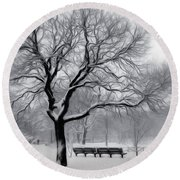 Round Beach Towel featuring the digital art Winter In The Park by Nina Bradica