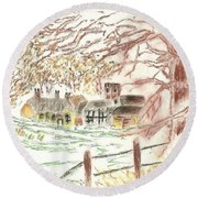 Winter In The Village Round Beach Towel