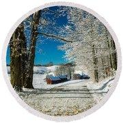 Winter In Vermont Round Beach Towel