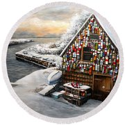 Winter Ipswich Bay Wooden Buoys  Round Beach Towel by Eileen Patten Oliver