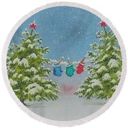 Winter Is Fun Round Beach Towel by Mary Ellen Mueller Legault