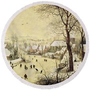 Winter Landscape With Skaters And A Bird Trap Round Beach Towel