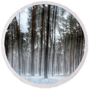Winter Light In A Forest With Dancing Trees Round Beach Towel