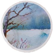Winter Loneliness Round Beach Towel