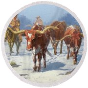 Winter Longhorns Round Beach Towel