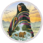 Winter Maiden Round Beach Towel