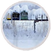 Winter Mailbox Panorama Round Beach Towel