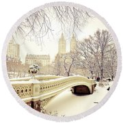 Winter - New York City - Central Park Round Beach Towel