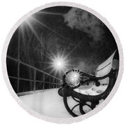 Winter Night Along The River Round Beach Towel
