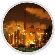 Winter Night At Sunila Pulp Mill Round Beach Towel
