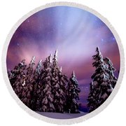 Winter Nights Round Beach Towel