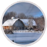 Winter On The Farm 14586 Round Beach Towel