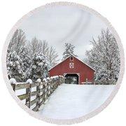 Winter On The Farm Round Beach Towel by Benanne Stiens