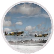 Winter Ops Spitfires Round Beach Towel by Gary Eason