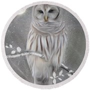 Winter Owl Round Beach Towel