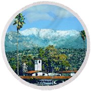 Winter Paradise Santa Barbara Round Beach Towel
