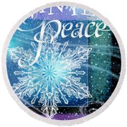 Winter Peace Greeting Round Beach Towel