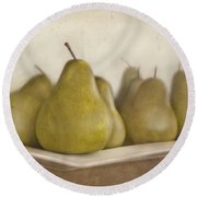 Winter Pears Round Beach Towel