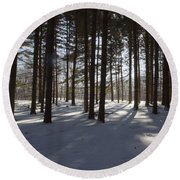 Round Beach Towel featuring the photograph Winter Pines by Daniel Sheldon