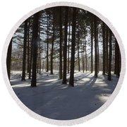 Winter Pines Round Beach Towel by Daniel Sheldon