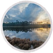 Winter Reflection-1 Round Beach Towel